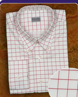 Red Check and a Button down collar